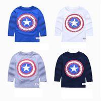 Cheap Pokemon Go Hug Me Baby Boys T-shirts Captain America Childrens New Autumn Winter Long Sleeve Kids Clothing 2016 New T-Shirts Blouses AA-470