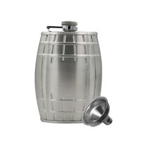barrel funnel - 6 OZ Stainless Steel Special Oak Barrel Shaped Flask Classic Frosted Silver Portable Whiskey Bottle with a Funnel