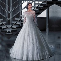 Wholesale Vestido De Noiva Lace Winter Wedding Dress Long Sleeve See Through Robe De Mariage A Line Wedding Dresses vernassa Custom