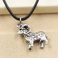 12pcs nouvelle mode tibétaine pendentif en argent chèvre moutons 23 * 19mm collier choker charme noir en cuir cordon prix d'usine Jewlery fait main