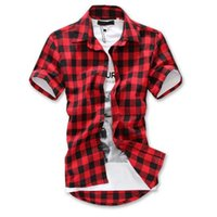 Wholesale Hot Sale Fashion Brand Short Sleeve Casual Plaid Shirt Men s Shirts Drop Shipping