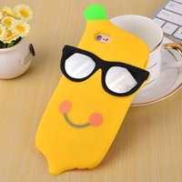"""Cheap New Arrivals 3D Cartoon Banana Glasses Cases Silicone Rubber Soft Case Cover for iPhone 6 6S 4.7"""" 6S Plus 5.5"""" Cute Protective Skin"""