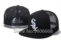 Wholesale 2015 Men s Black Color White Letter SOX Sport Team NCAA Baseball Snapback Caps Chicago White Sox Mesh Trucker Hats