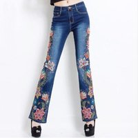 american made jeans - 2016 Hand Made Spring High Waist Luxury Beading Embroidered Flares Jean Female Embroidery Flower Jeans Denim Trousers Plus Size