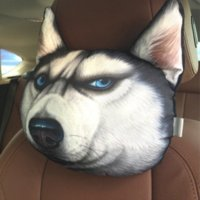 Wholesale New Arrival Cool D Printed Dog face Car Headrest Pillow Activated Carbon Seat Covers Supplies Neck Auto Safety Pillow