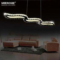 Wholesale Hot selling Crystal wavy LED chandelier lustre Modern Stainless Steel LED hanging lamp light lighting fixture for Restaurant