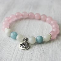 aquamarine healing - SN1031 Trendy Lotus Women s Bracelet Nature Stone Bracelet Aquamarine Bracelet Top Quality Rose Quartz Yoga Jewelry Healing Bracelet
