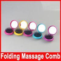 Airbag cepillo plegable portátil de masaje peine Mini Ronda de masaje plegable peine con el espejo de las nuevas muchachas del viaje pelo en la acción