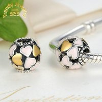 Wholesale S925 Sterling Silver Pink Enamel Heart Hollow Abundance of Love Charm Beads Jewelry Big Hole for DIY Bracelet Necklace