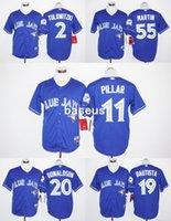 Wholesale MLB Blue Jays Baseball Jerseys Kevin Pillar Toronto Blue Jays Jose Bautista Josh Donaldson Russell Martin th Anniversary