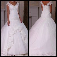 Wholesale 2016 Sexy V Neck Fitted Country Style Wedding Dress Cap Sleeves African Vestido De Novias Mermaid Bridal Dresses With Beaded
