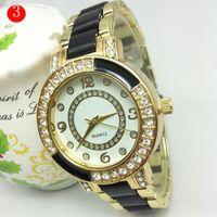 auto create - Luxury Created Diamond Geneva Brand Watches White ceramic female Diamond watches casual set auger women watch with colors