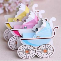 Wholesale 100pcs Wedding Candy Box Stroller Shape Party Wedding Baby Shower Favor Paper Gift Boxes Event Party Supplies