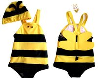 bee honey products - Baby Swimsuit New Baby Girls Swimwear Honey Bee Bikini Kids Swimsuit Bodysuit Hat Children s Suit Bee Product The Boy One piece