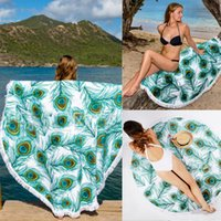 beach mat with cover - 2016 Round Beach Throw Cover Up Tapestry Tablecloth Beach Towel Wrap Yoga Mat with Fringe Wall Hanging Wall Decor Tablecloth Scarf