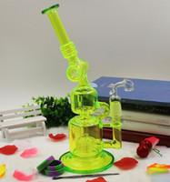 Couleur Filtre à 3 couches bong tubes en verre bongs en verre Fluorescent Vert Narguilés avec banger sans dents quartz clou silicone jar dabber outil
