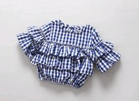 Wholesale HX1017 Fashion Girls Blouses Sweet School Style Blue Plaid Printed Ruffles O Neck Back Buttons Autumn Three Quarter Sleeve Cozy Casual