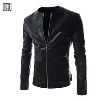 Wholesale Fall Motorcycle PU Leather Jacket Men Black Brown Chaquetas Hombre Zipper Biker Mens Faux Leather Jackets And Coats Jaquetas