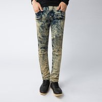 america mid - 2016 New Balmain Mens Jeans Europe and America Style Jeans Long Straight Cotton Stripe Mens Jeans Stonewashed Draped Solid Jeans for Men