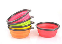 Wholesale 50pcs colors Pet Dog bowl Floding Silicone Frisbee Collapsible Feeding Water Feeder Travel Bowl Dish Cats bowl Dog Supplies D627
