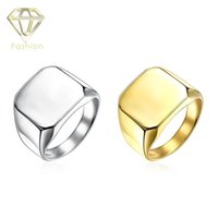 Wholesale Male Engagement Rings Classic K White Gold Plated L Stainless Steel Glossy Big Square Ring Trendy Wedding Jewelry