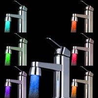 Wholesale Led Light Water Faucet Color Sensor Water Faucet Tap Kitchen Bathroom No battery Automatic Temperature Showers RGB Led Light WX K04