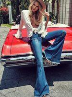 big bottom jeans - jeans for women summer women vintage blue big flare denim trousers mid waist slim moustanche effect flare jeans big bell bottom jeans