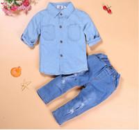 Wholesale Retail New Fashion Girls Cotton blue shirt Hole jeans suits t shirt Tops Trousers Pants Set Children Clothes Set
