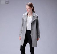 Wholesale New Arrivals Women s Autumn Winter Casual long Coat Design Fashion Trench Coat Gray And Dark Blue M L XL