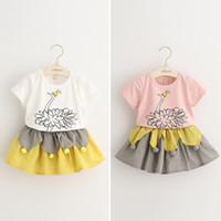 Wholesale Cute Kids Girls Everweekend New Style Sets Print Beautiful Peacock Cotton T shirt Ruffles Cotton Linen Skirt Fashion Suits