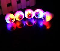 Wholesale DHL PuHalloween Ring Horror Gruesome Led Light Eye Eyeball Favor Flash Ring EYE Ball Bouncy Balls