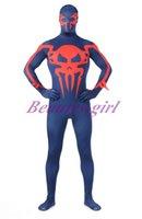 Wholesale Cheapest Bodysuit Costumes - Wholesale-Sexy Cheap Bodysuit Deep Blue And Red Lycra Spandex Spiderman Full Body Zentai Super Hero Zentai Dropship SK0014
