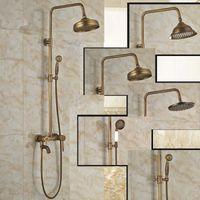bath tub model - Modern Design model Wall Mount Single Handle Tub Spout Bath Shower Mixer Faucet Antique Brass handshower