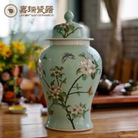 Wholesale 16inch Height hand painted ceramic General Storage Bottle jar Kitchen tea caddy Canddy tank tea jar home decorative