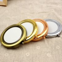 bags compact mirrors - New Silver plate Pocket Compact Mirror Blank Round Metal Makeup Mirror Personalized Mirror each packing in fabric bag