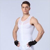 Wholesale Men Zip Shaper Vest Slimming Body Shaper Waist Cincher Tummy Control Girdle Shirt Underwear Belly Sport Shaperwear Tank Top