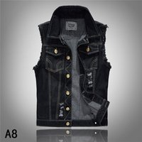american standard tank - Denim Vest Mens Jackets Sleeveless Fashion Washed Jeans Waistcoat Mens Tank Top Cowboy Male Ripped Jacket Plus Size S XL