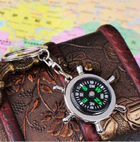 Wholesale Fashion Rudder Compass Keychain Mini Compass Key Chain Ring Pocket Outdoor Gadgets Hiking Camping Outdoor Gear Pendant Xmas Promotion Gifts
