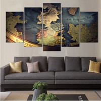 Cheap NO FRAME CANVAS ONLY 5 pieces WORLD MAP TRADITONAL modern wall painting home decor wallpaper on canvas prints