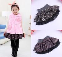 Wholesale piece Big dot New Beautiful Cute baby Girl bow A Line woolen Skirt baby tutu cake skirt