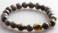 agate stone pictures - Hot Sale Jewelry Natural Picture Gray Semi Precious Stone Beads Antique Gold Silver Buddha Bracelets