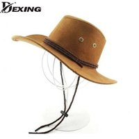 adult hollywood costumes - High quality Wide Brim Faux Leather cowboy hats for men women western Hollywood Style Party Costume travel outdoor cowboy hat