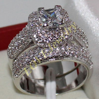 Wholesale Size Majestic Sensation Women s Silver Square Simulated Diamond CZ Paved Wedding Ring Sets