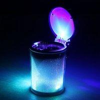 Wholesale Car Ashtray Color Auto Portable Car Travel LED Light Lamp Cigarette Cylinder Ashtray Holder Cup Light Emitting Ash Cylinder Gift