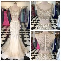 art specials - 2015 Two Pieces Formal Evening Party Dresess Special Occasion Prom Gowns With Luxury Gold Beading Crop Top Sweep Train Custom Made