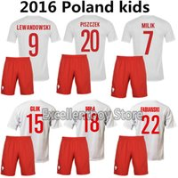 Wholesale DHL shipping Poland for kids kits Soccer Jersey Home White Away Red Polska Lewandowski Piszczek Koszulki football sets