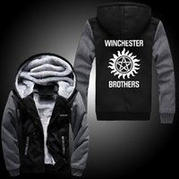 Wholesale Fall Supernatural Zip Hoody Saving People Hunting Things Hooded Jacket Thick Coats Unisex plush Sweater hoodie Winchester Brothers