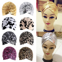 Wholesale Stretchy Turban Head Wrap Band Sleep Hat Chemo Bandana Hijab Pleated Indian Cap Knit Headband Beanie Crochet Women Hat Cap W1