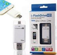 Wholesale i Flash Driver HD U disk flash drive Light data for iPhone iPad iPod i flash drive HD for PC MAC iStick driver HD