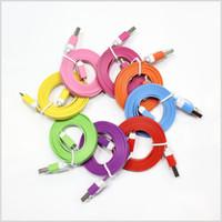 al por mayor llamo por teléfono al cable del cargador de los tallarines-1M 3FT de los datos planos de los fideos del USB Cable de carga del cable de las cuerdas del cargador Micro V8 para i 4 4S 5 5S 6 6S 7 más y Samsung HTC teléfono androide MQ200